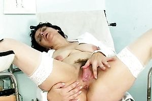 Brunette,fetish,granny,hairy,masturbation,solo,stockings,uniform