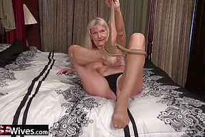 Masturbation,mature,solo Female,straight,blonde,granny,hairy,skinny
